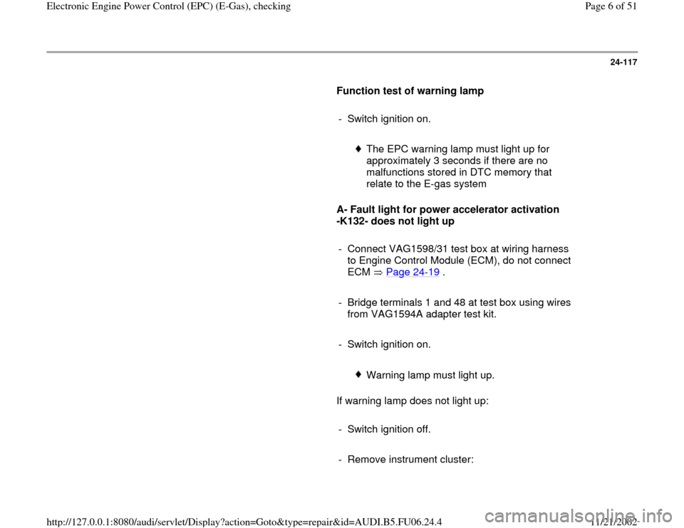 AUDI A4 2000 B5 / 1.G ATW Engine Electronic Power Control Checking Workshop Manual, Page 6