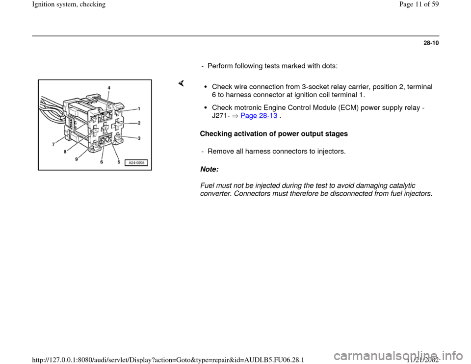 AUDI A6 1995 C5 / 2.G ATW Engine Ignition System Workshop Manual, Page 11