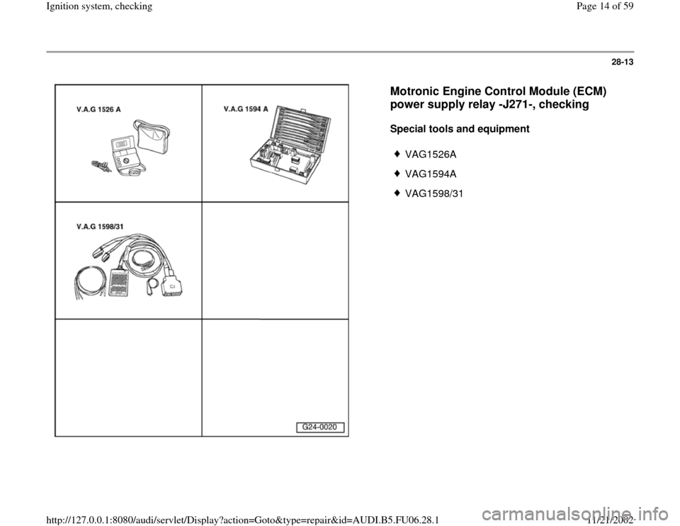 AUDI A6 1995 C5 / 2.G ATW Engine Ignition System Workshop Manual, Page 14