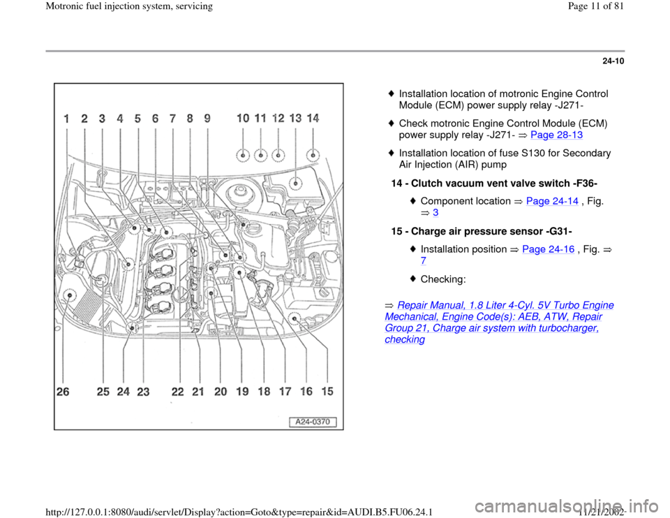 AUDI A4 1997 B5 / 1.G ATW Engine Motronic Fuel Injection Syst, Page 11