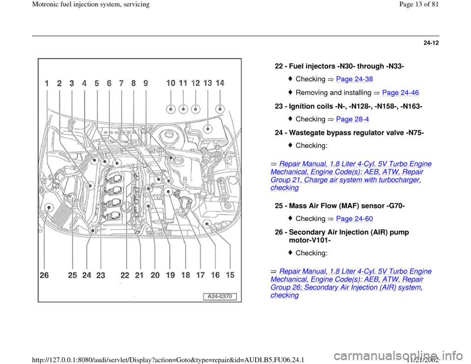 AUDI A4 1997 B5 / 1.G ATW Engine Motronic Fuel Injection Syst, Page 13