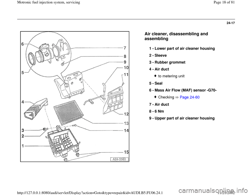 AUDI A4 1997 B5 / 1.G ATW Engine Motronic Fuel Injection Syst, Page 18