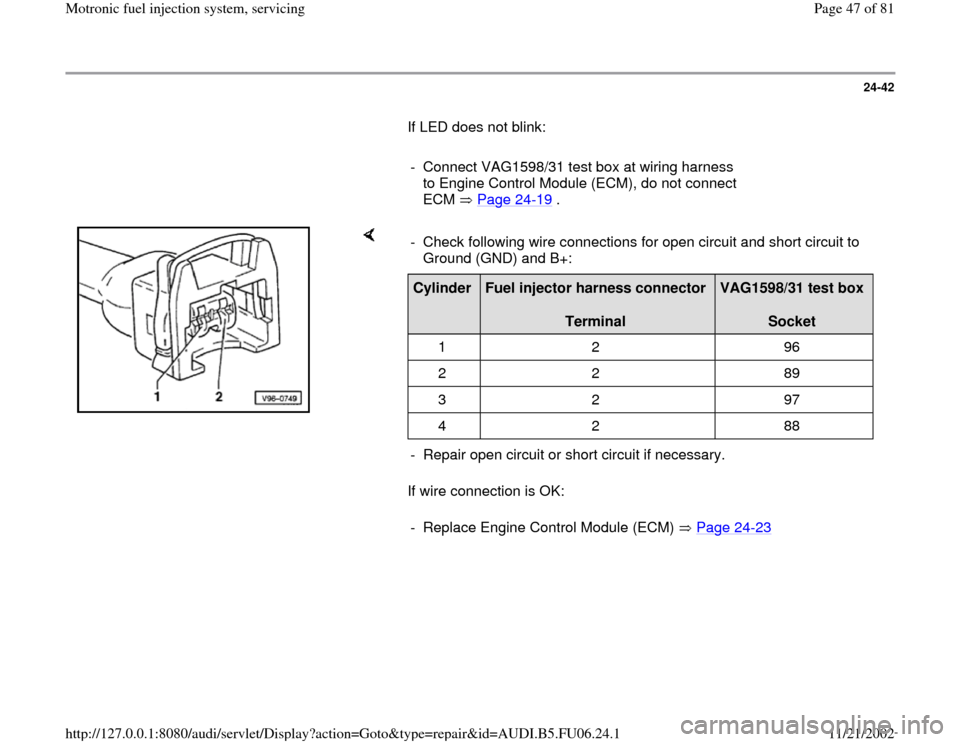 AUDI A4 1997 B5 / 1.G ATW Engine Motronic Fuel Injection Syst, Page 47