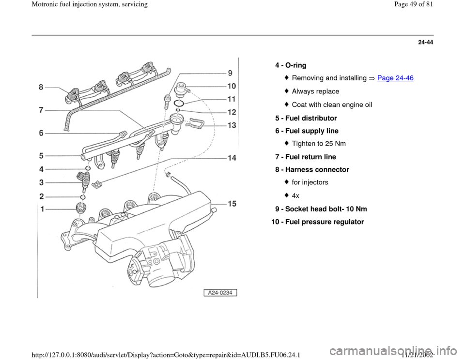 AUDI A4 1997 B5 / 1.G ATW Engine Motronic Fuel Injection Syst, Page 49