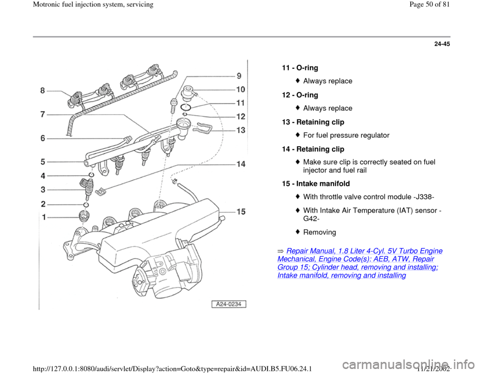 AUDI A4 1997 B5 / 1.G ATW Engine Motronic Fuel Injection Syst, Page 50