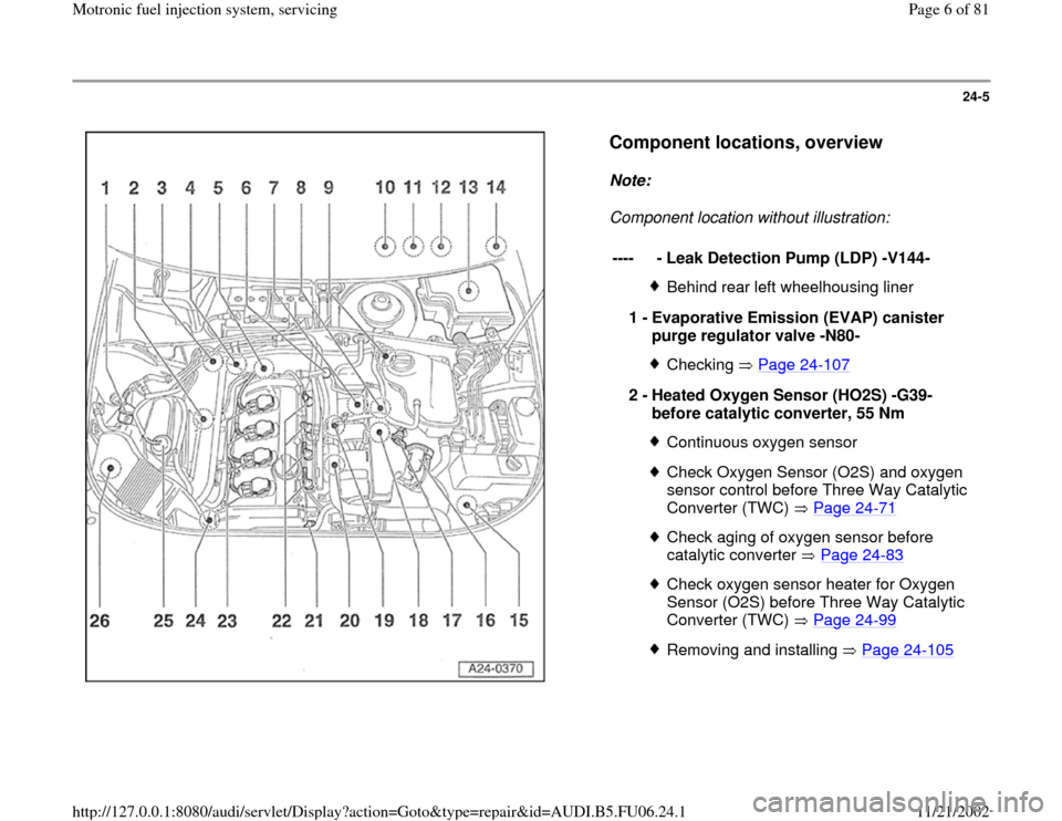 AUDI A4 1998 B5 / 1.G ATW Engine Motronic Fuel Injection Syst, Page 6