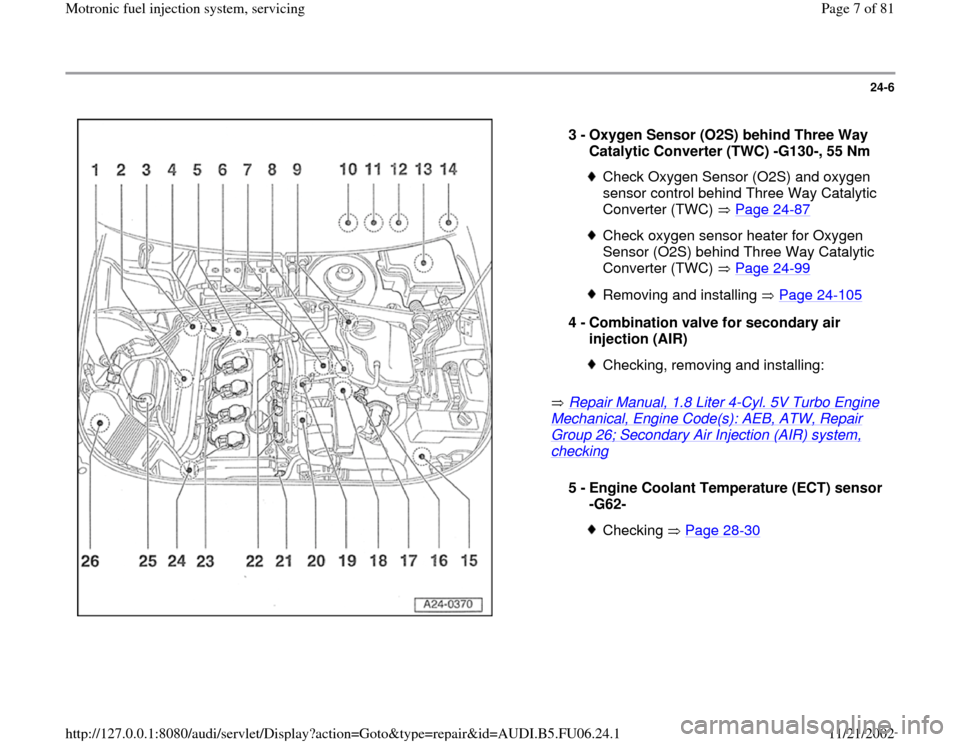 AUDI A4 1998 B5 / 1.G ATW Engine Motronic Fuel Injection Syst, Page 7