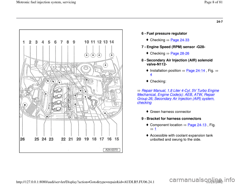 AUDI A4 1998 B5 / 1.G ATW Engine Motronic Fuel Injection Syst, Page 8