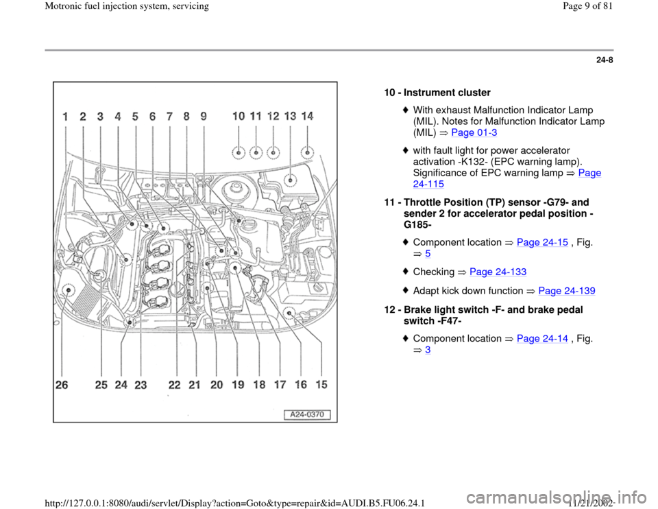 AUDI A4 1999 B5 / 1.G ATW Engine Motronic Fuel Injection Syst, Page 9