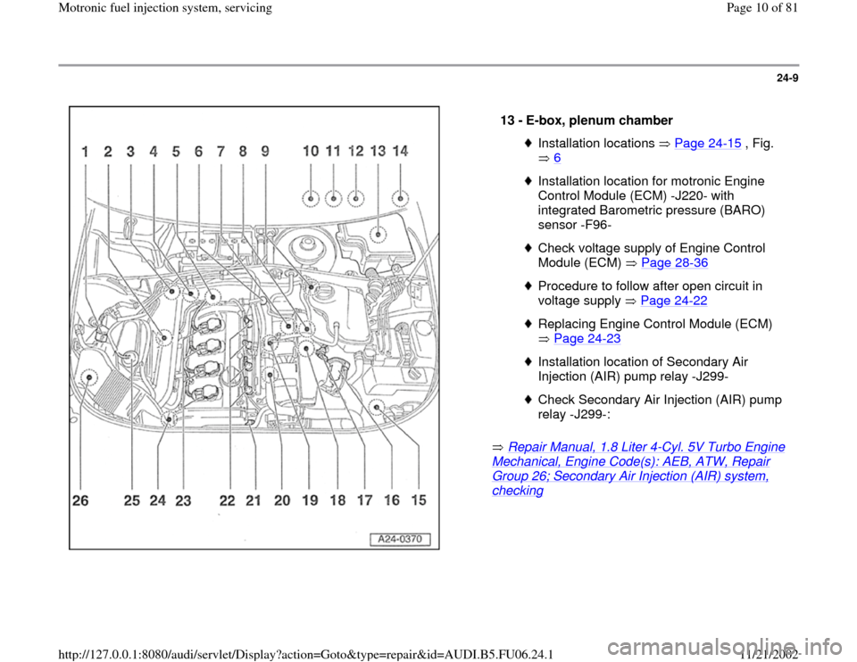 AUDI A4 1998 B5 / 1.G ATW Engine Motronic Fuel Injection Syst, Page 10