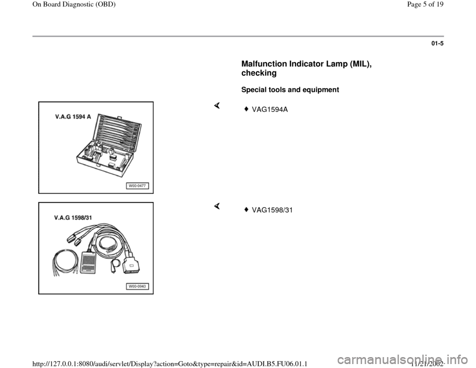 AUDI A4 1998 B5 / 1.G ATW Engine On Board Diagnostic Workshop Manual, Page 5