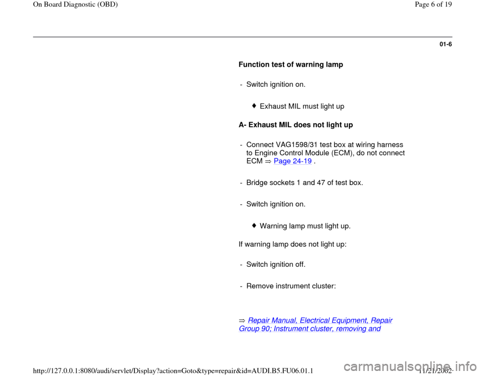 AUDI A4 1998 B5 / 1.G ATW Engine On Board Diagnostic Workshop Manual, Page 6