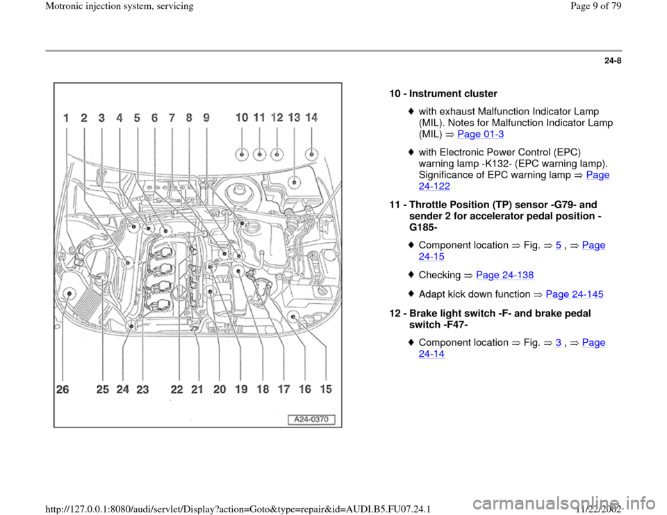 Audi A4 1999 B5 1 G Awm Engine Motronic Injection System Servicing Workshop Manual