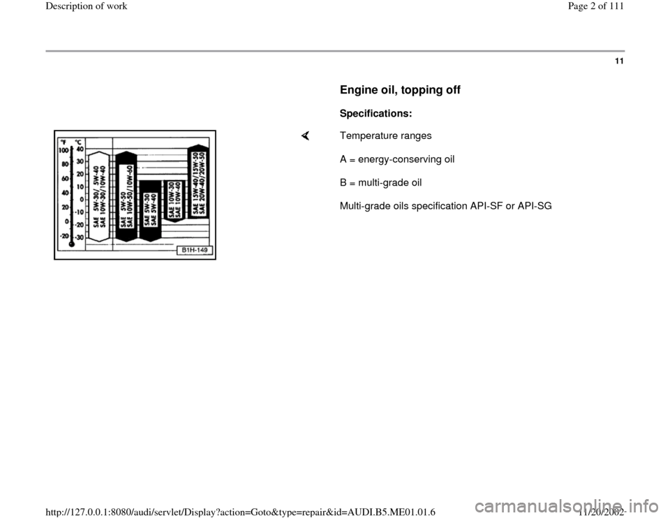 AUDI A4 1995 B5 / 1.G Engine Oil Level Checking Workshop Manual, Page 2