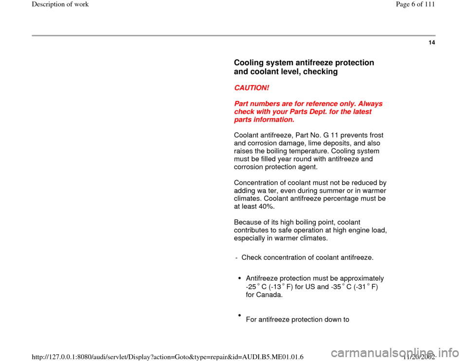 AUDI A4 1995 B5 / 1.G Engine Oil Level Checking Workshop Manual, Page 6