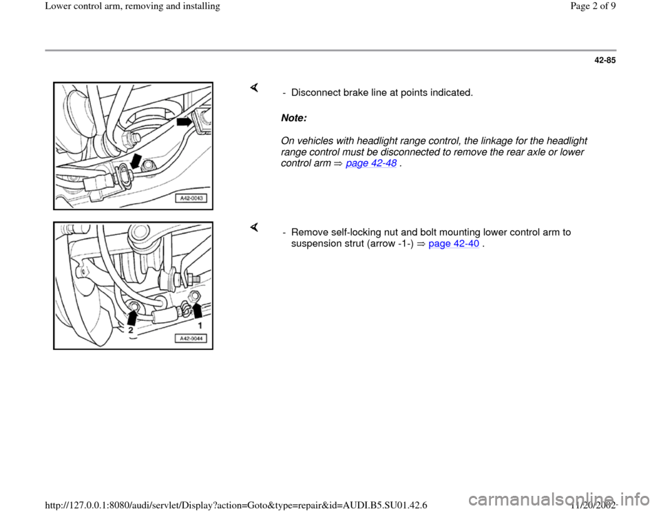 AUDI A4 1999 B5 / 1.G Suspension Lower Control Arm Remove And Install Workshop Manual, Page 2
