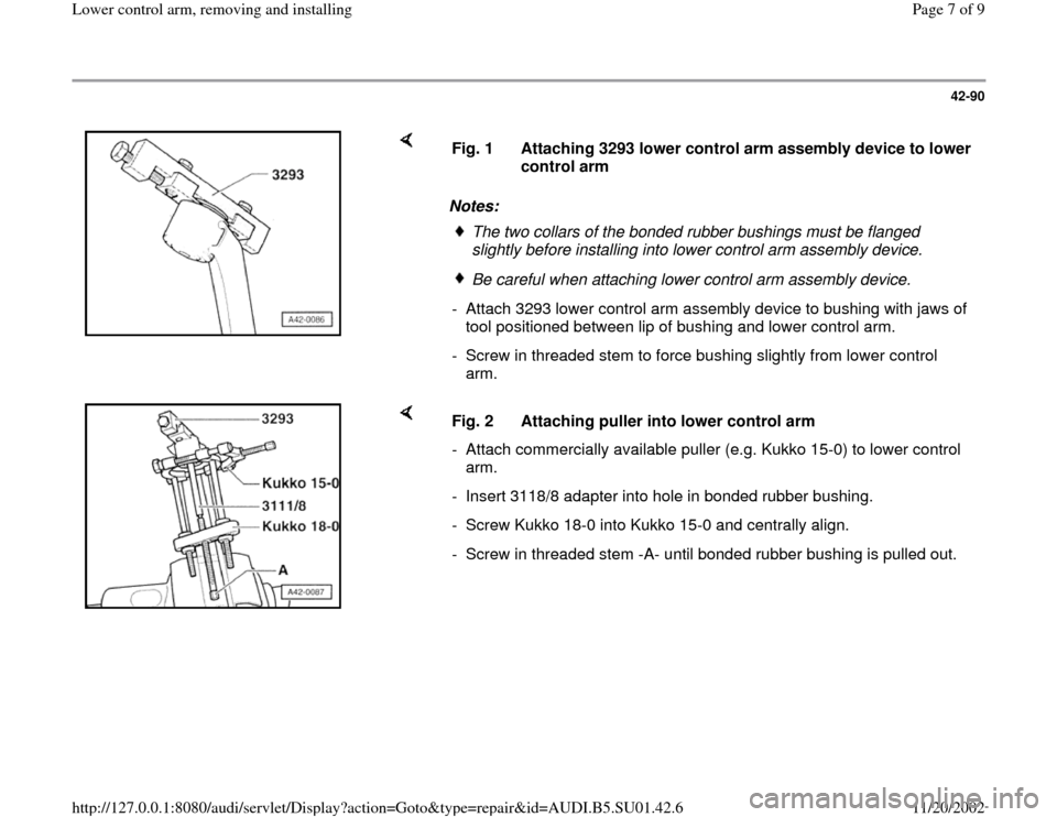 AUDI A4 1999 B5 / 1.G Suspension Lower Control Arm Remove And Install Workshop Manual, Page 7