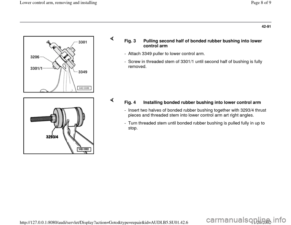 AUDI A4 1999 B5 / 1.G Suspension Lower Control Arm Remove And Install Workshop Manual, Page 8