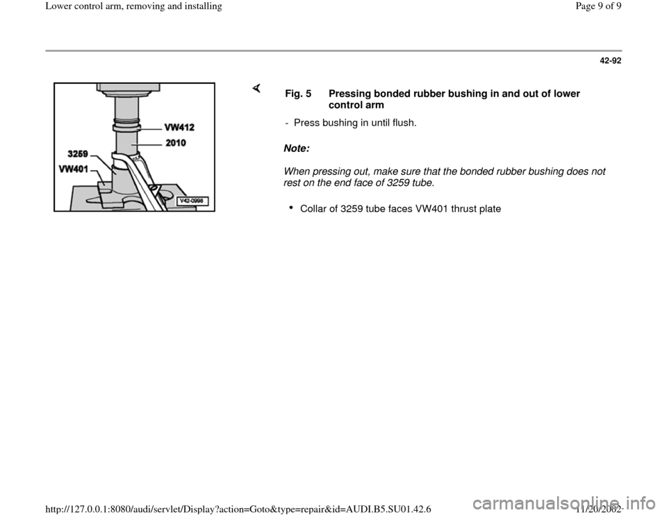 AUDI A4 1999 B5 / 1.G Suspension Lower Control Arm Remove And Install Workshop Manual, Page 9