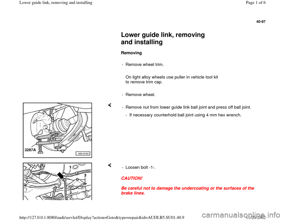 AUDI A4 1995 B5 / 1.G Suspension Lower Guide Link Remove And Install Workshop Manual, Page 1