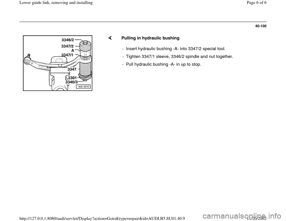 AUDI A4 1995 B5 / 1.G Suspension Lower Guide Link Remove And Install Workshop Manual, Page 6
