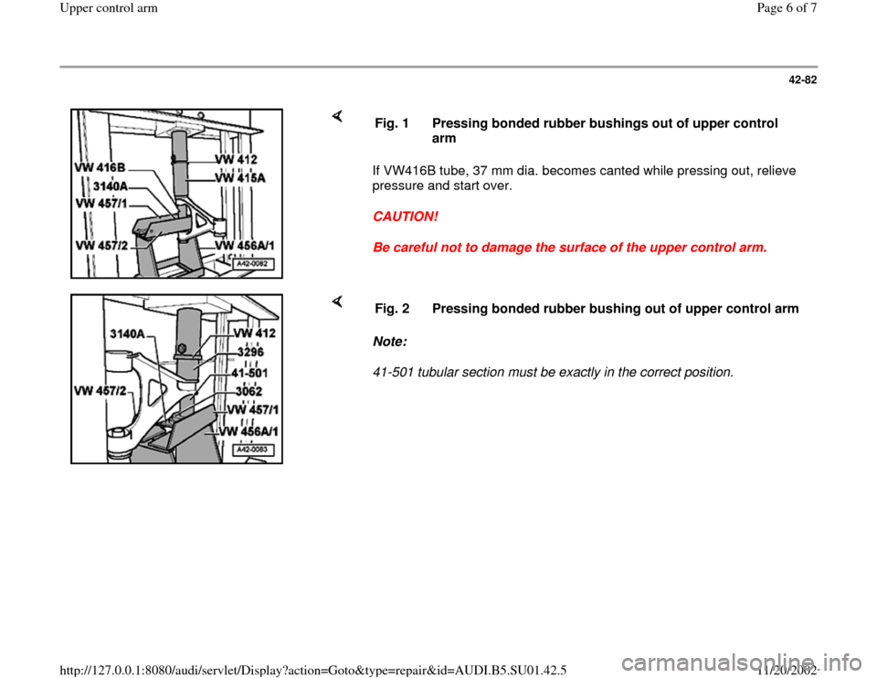 AUDI A4 1997 B5 / 1.G Suspension Upeer Control Arm Workshop Manual, Page 6