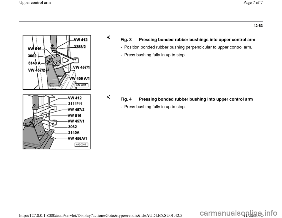 AUDI A4 1997 B5 / 1.G Suspension Upeer Control Arm Workshop Manual, Page 7