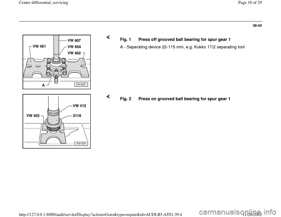 AUDI A8 1998 D2 / 1.G 01V Transmission Center Differential Service Workshop Manual, Page 10