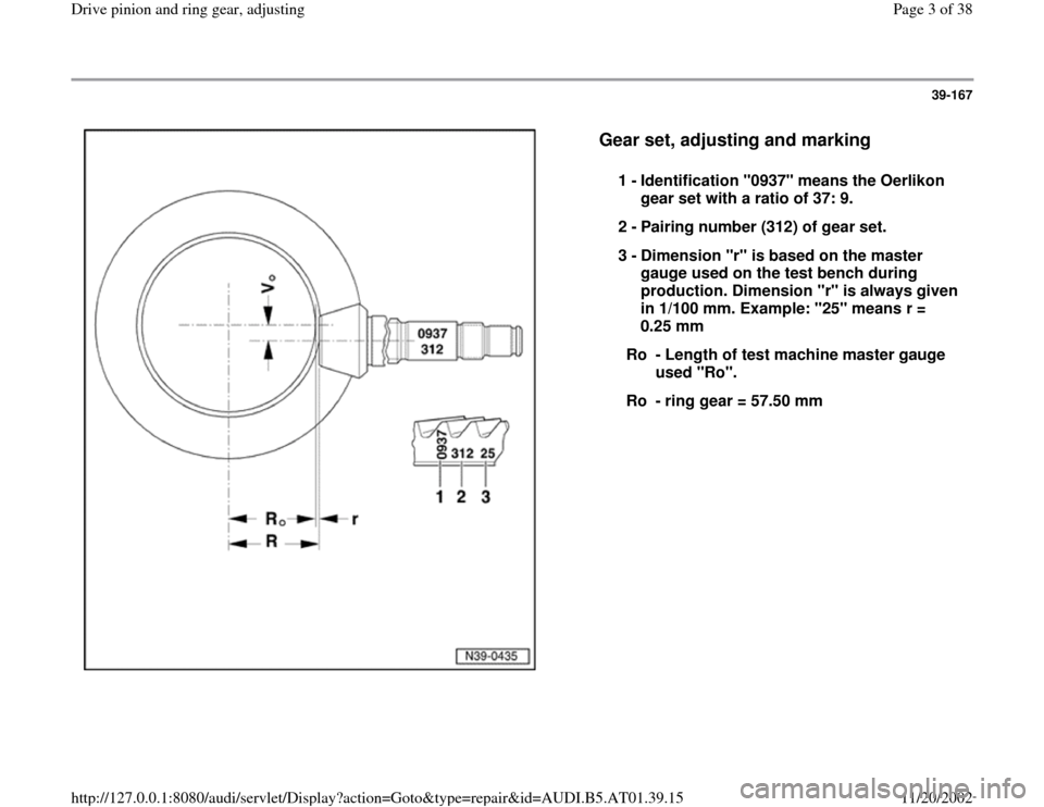 AUDI A8 1998 D2 / 1.G 01V Transmission Drive Pinion And Ring Gear Adjust Workshop Manual, Page 3