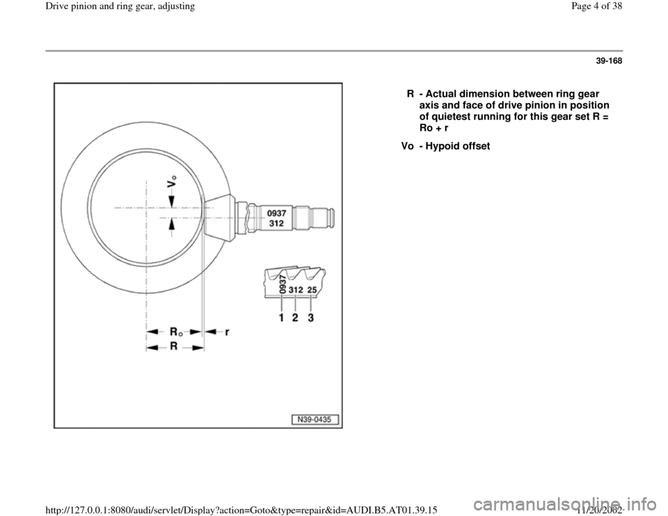 AUDI A8 1998 D2 / 1.G 01V Transmission Drive Pinion And Ring Gear Adjust Workshop Manual, Page 4