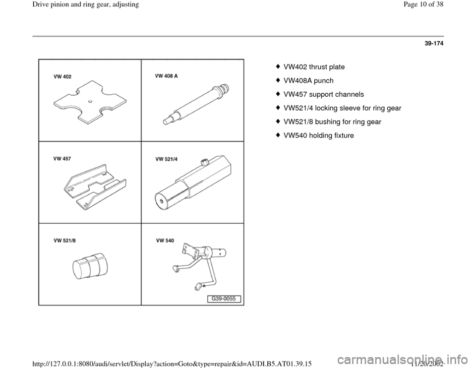 AUDI A8 1998 D2 / 1.G 01V Transmission Drive Pinion And Ring Gear Adjust Workshop Manual, Page 10