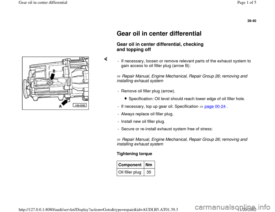 AUDI A8 1996 D2 / 1.G 01V Transmission Gear Oil Differential Workshop Manual, Page 1