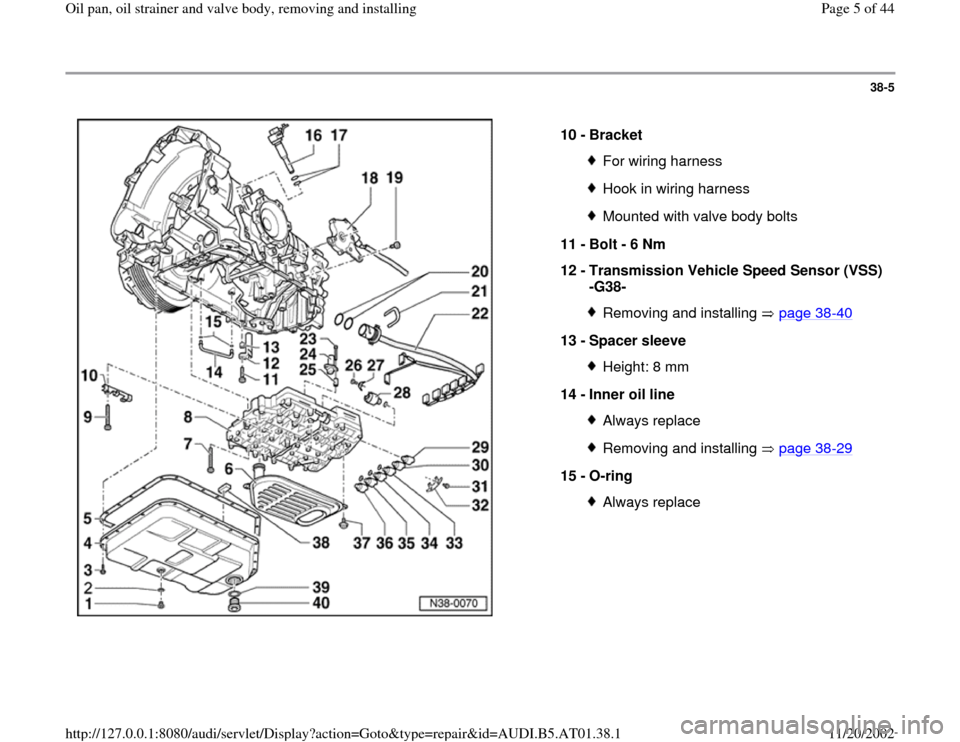 AUDI A4 2000 B5 / 1.G 01V Transmission Oil Pan And Oil Strainer Assembly Workshop Manual, Page 5