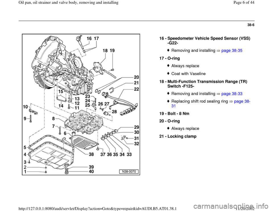 AUDI A4 2000 B5 / 1.G 01V Transmission Oil Pan And Oil Strainer Assembly Workshop Manual, Page 6