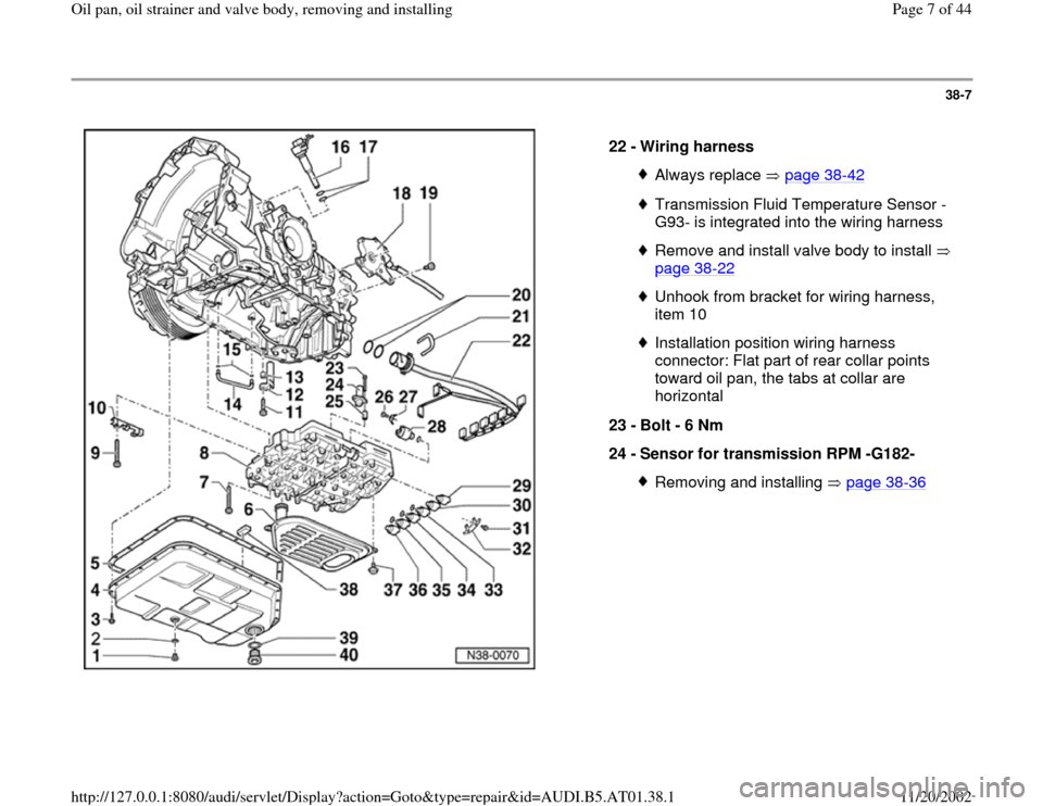 AUDI A4 2000 B5 / 1.G 01V Transmission Oil Pan And Oil Strainer Assembly Workshop Manual, Page 7