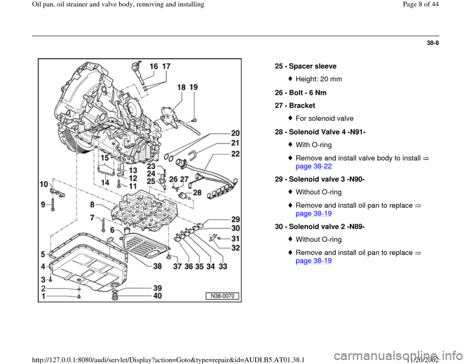 AUDI A4 2000 B5 / 1.G 01V Transmission Oil Pan And Oil Strainer Assembly Workshop Manual, Page 8