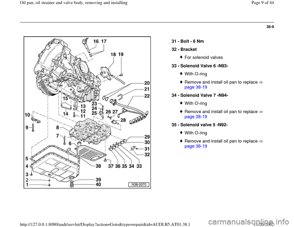 AUDI A4 2000 B5 / 1.G 01V Transmission Oil Pan And Oil Strainer Assembly Workshop Manual, Page 9