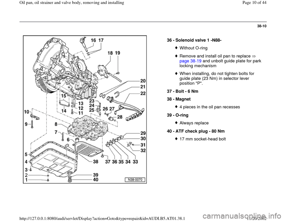 AUDI A4 2000 B5 / 1.G 01V Transmission Oil Pan And Oil Strainer Assembly Workshop Manual, Page 10