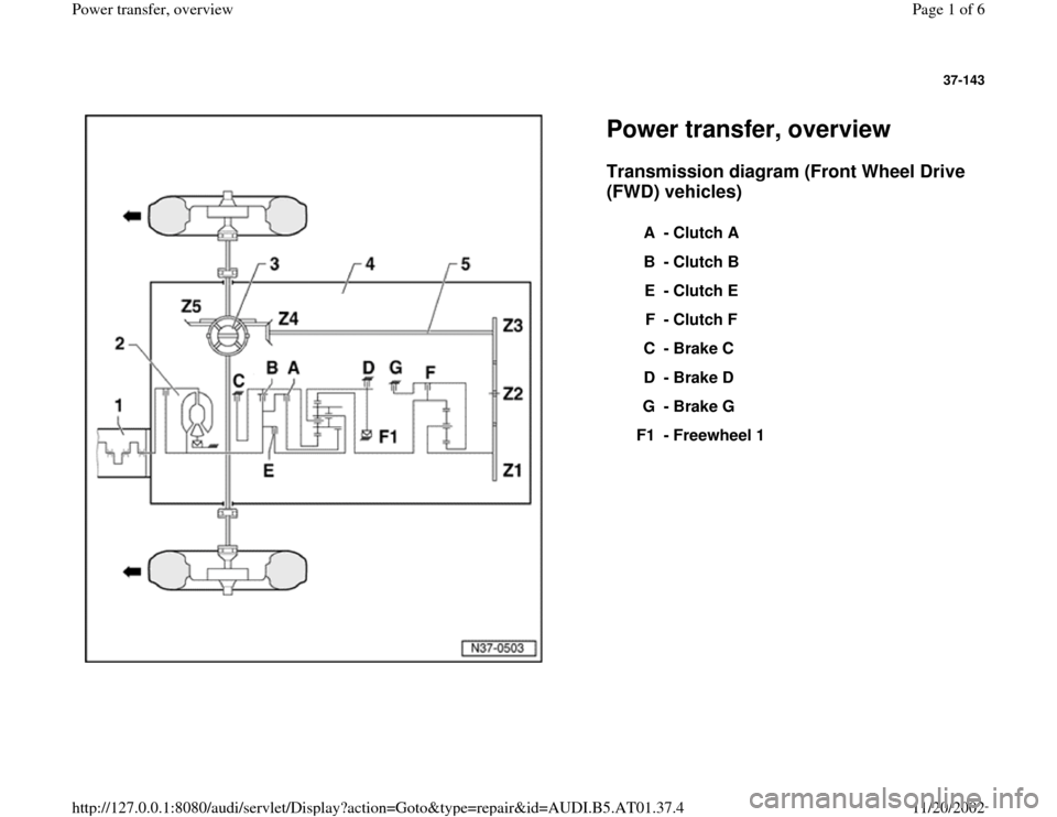 AUDI A4 1996 B5 / 1.G 01V Transmission Power Transfer Overview Workshop Manual, Page 1