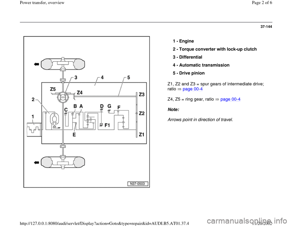 AUDI A4 1996 B5 / 1.G 01V Transmission Power Transfer Overview Workshop Manual, Page 2