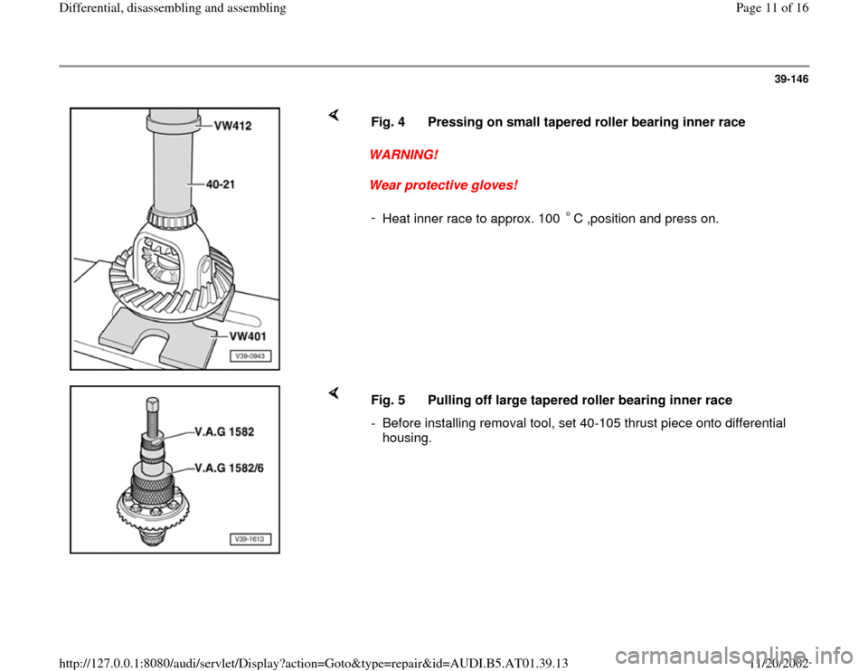 AUDI A4 2001 B5 / 1.G 01V Transmission Rear Differential Assembly Workshop Manual, Page 11
