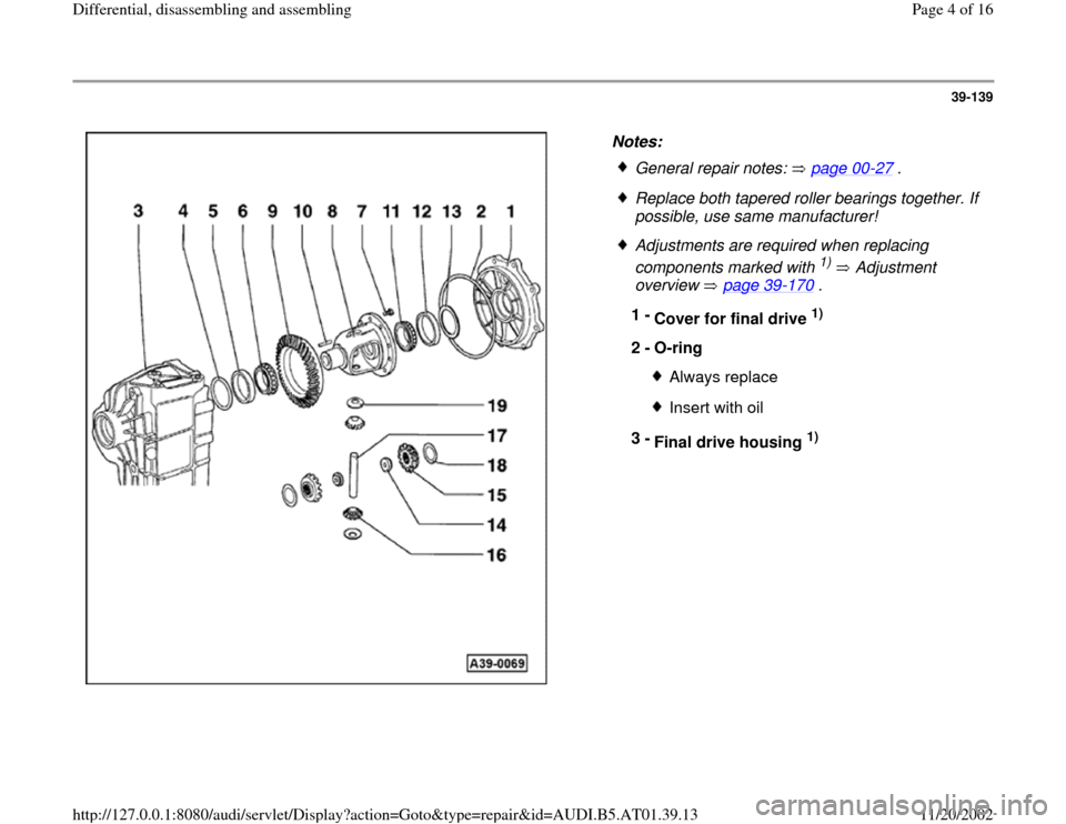 AUDI A4 2000 B5 / 1.G 01V Transmission Rear Differential Assembly Workshop Manual, Page 4