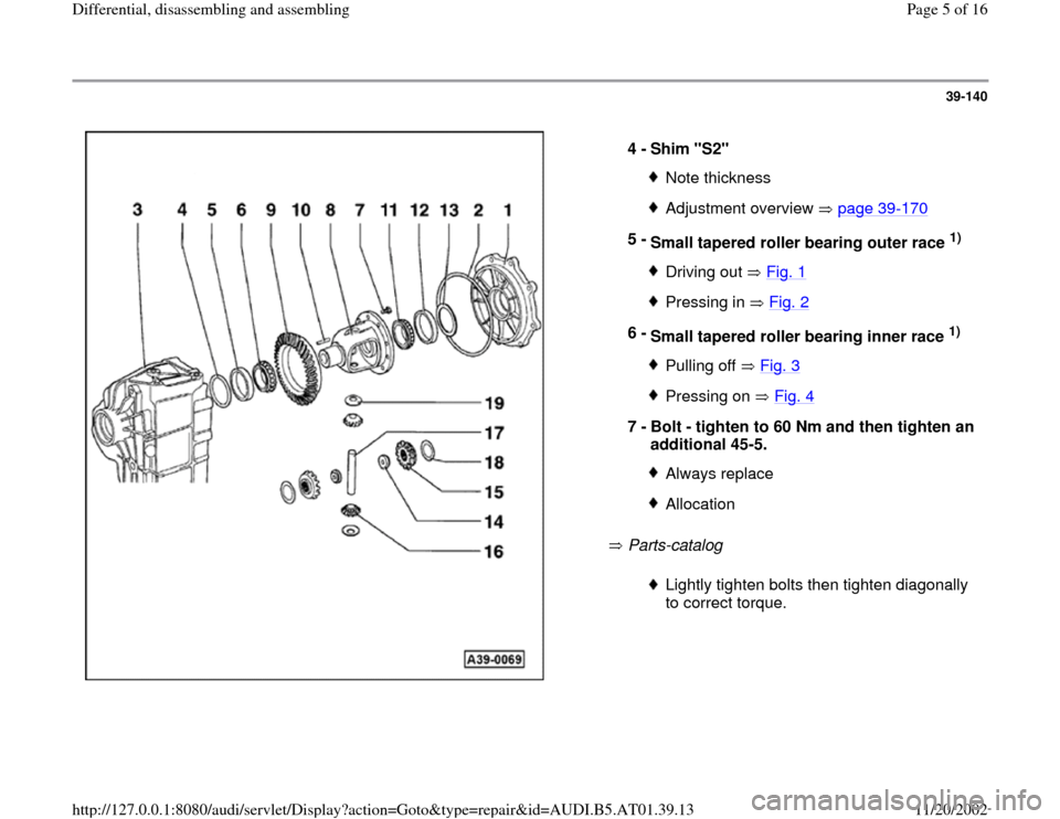 AUDI A4 2000 B5 / 1.G 01V Transmission Rear Differential Assembly Workshop Manual, Page 5
