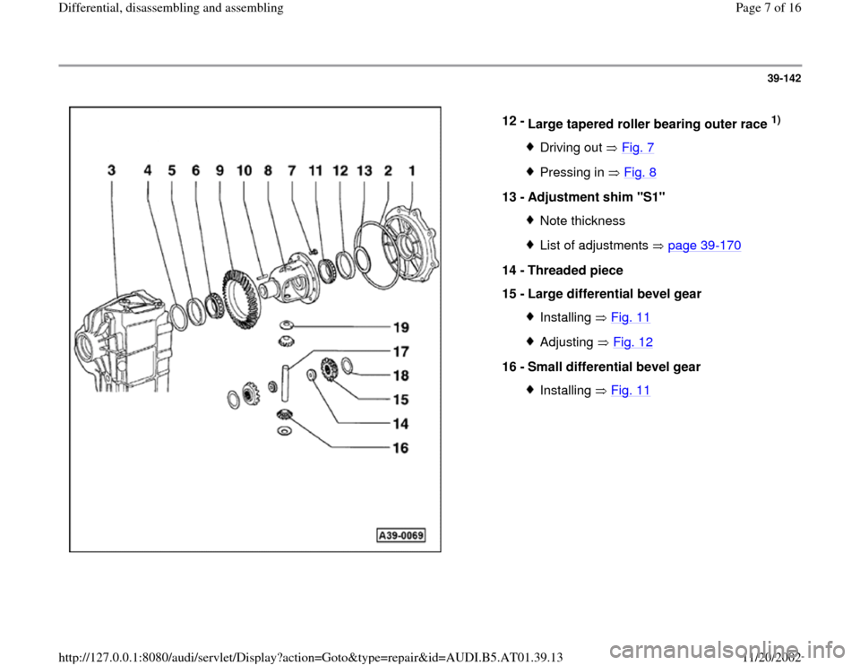 AUDI A4 2000 B5 / 1.G 01V Transmission Rear Differential Assembly Workshop Manual, Page 7