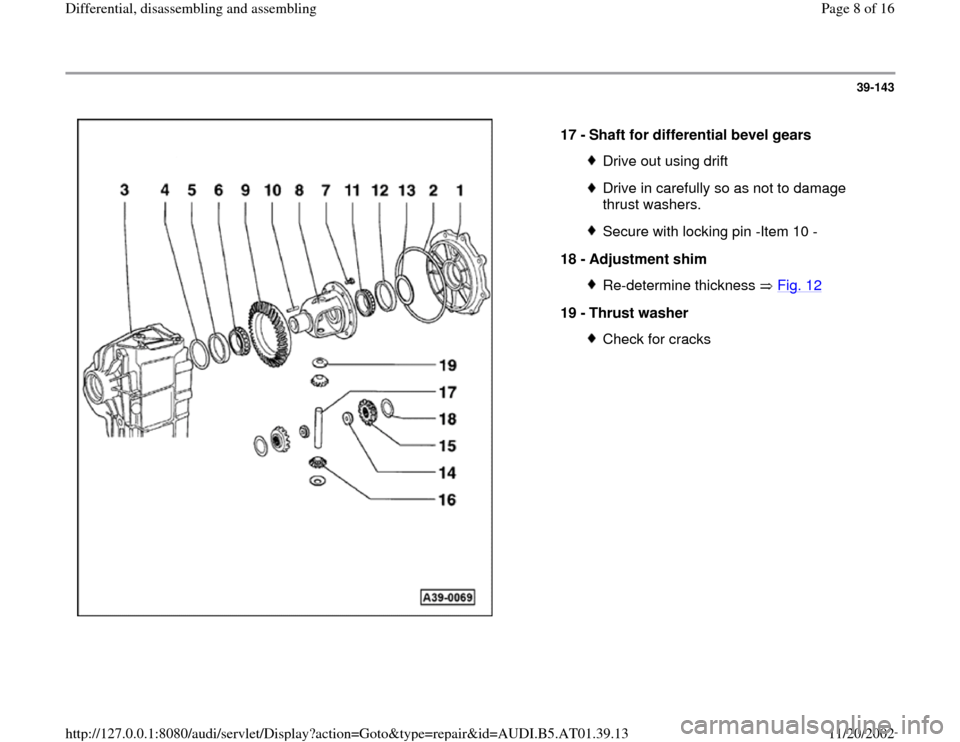 AUDI A4 2000 B5 / 1.G 01V Transmission Rear Differential Assembly Workshop Manual, Page 8