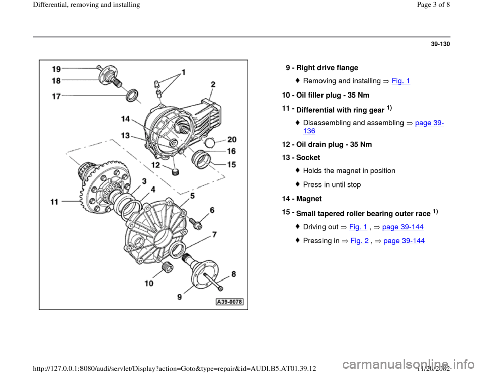 AUDI A6 1997 C5 / 2.G 01V Transmission Rear Differential Remove And Install Workshop Manual 39-130      9 -  Right drive flange  Removing and installing   Fig. 1 10 -  Oil filler plug - 35 Nm  11 -  Differential with ring gear  1)  Disassembling and assembling   page 39 - 136   12 -  Oil dra