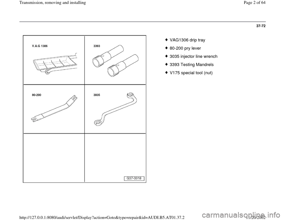 AUDI A8 1997 D2 / 1.G 01V Transmission Remove And Install Workshop Manual, Page 2