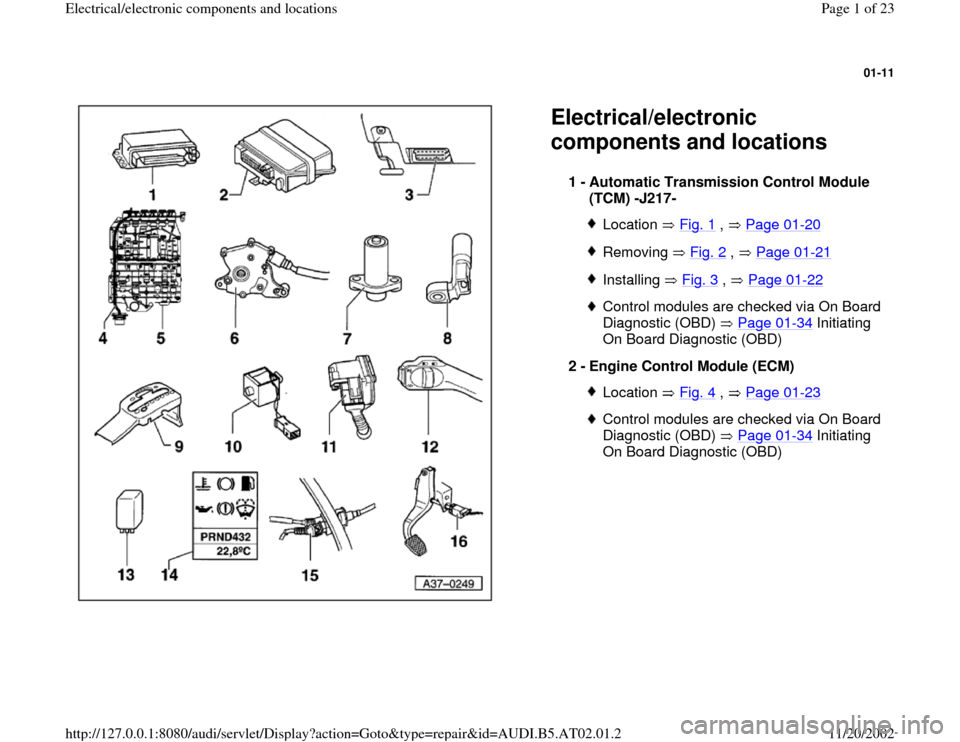 AUDI A4 1999 B5 / 1.G 01V Transmission Electrical And Electronic Components Workshop Manual, Page 1
