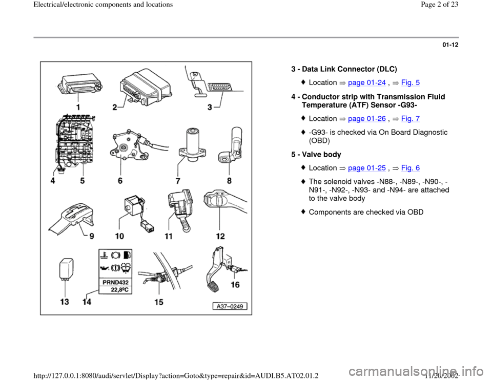 AUDI A4 1999 B5 / 1.G 01V Transmission Electrical And Electronic Components Workshop Manual, Page 2