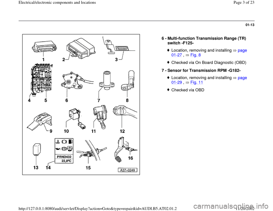 AUDI A4 1999 B5 / 1.G 01V Transmission Electrical And Electronic Components Workshop Manual, Page 3